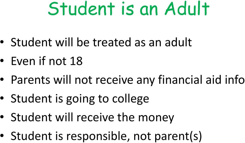 financial aid info Student is going to college