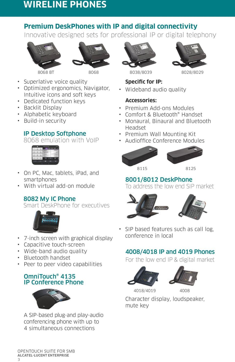 IP: Wideband audio quality Accessories: Premium Add-ons Modules Comfort & Bluetooth Handset Monaural, Binaural and Bluetooth Headset Premium Wall Mounting Kit Audioffice Conference Modules On PC,