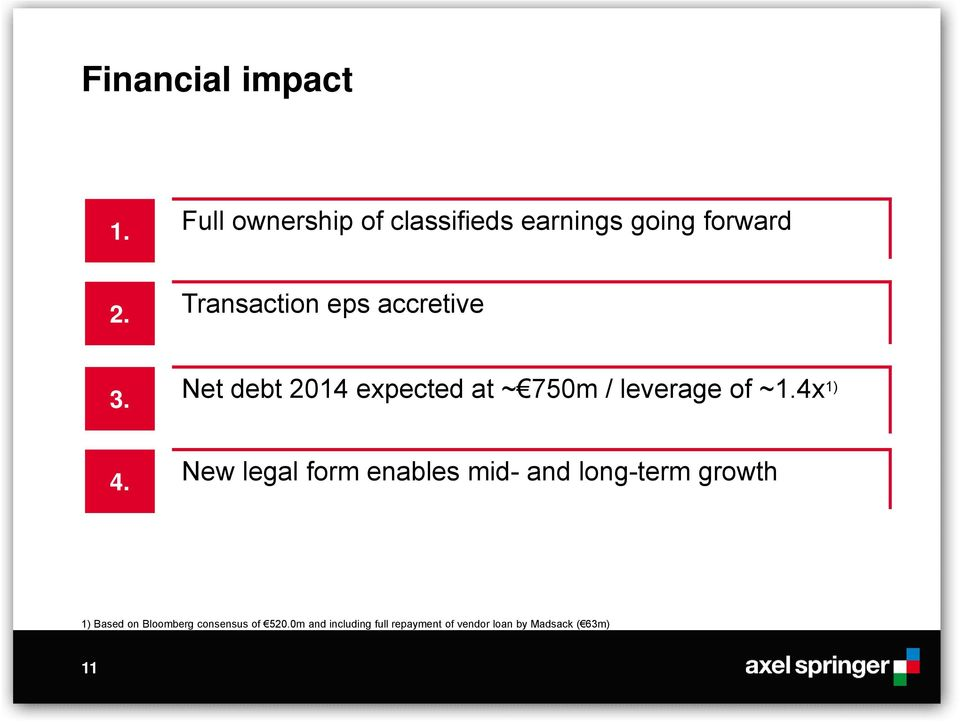 3. 4. Net debt 2014 expected at ~ 750m / leverage of ~1.