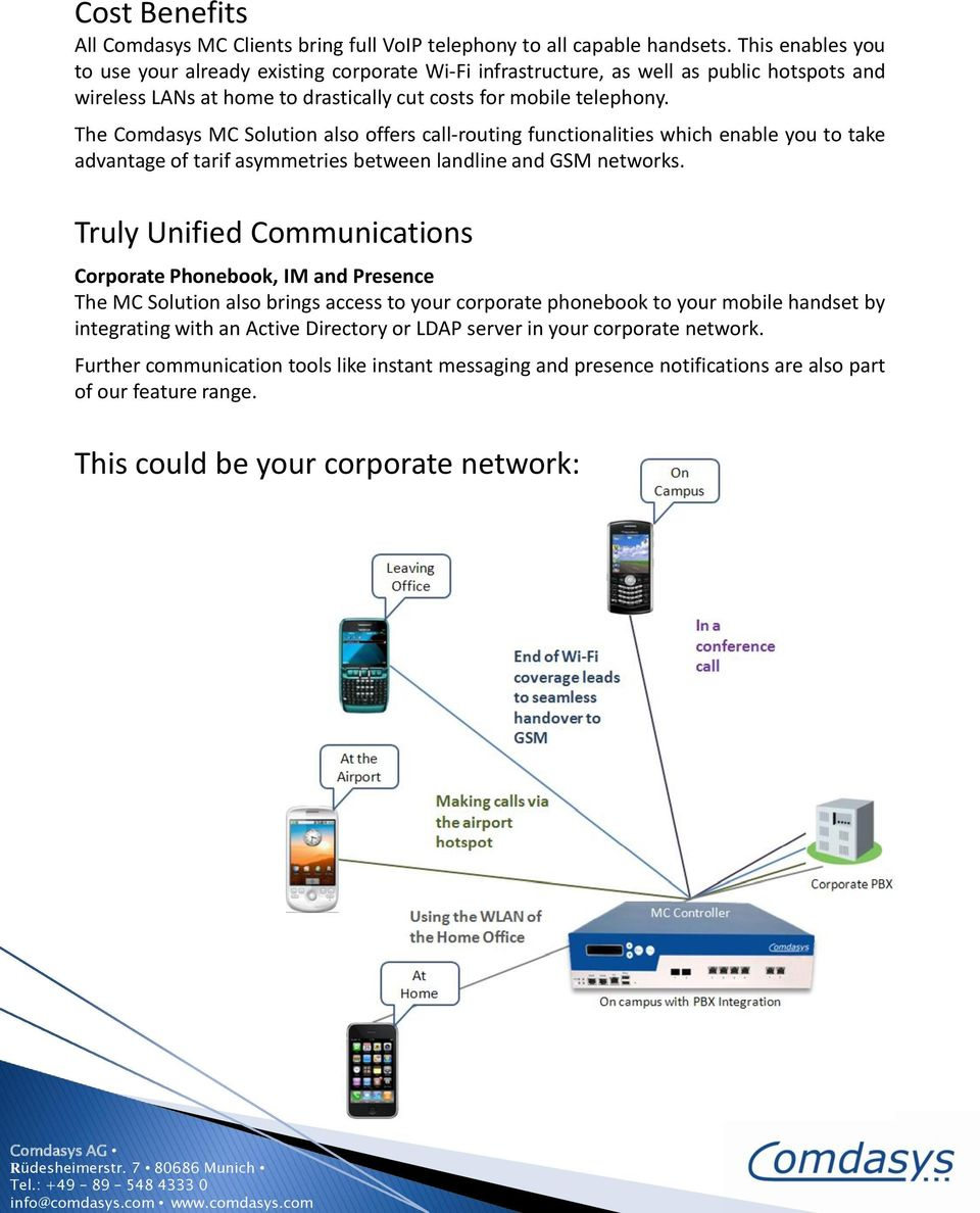 The Comdasys MC Solution also offers call-routing functionalities which enable you to take advantage of tarif asymmetries between landline and GSM networks.