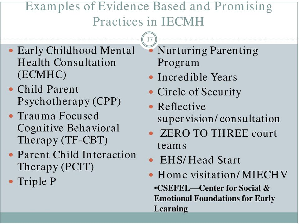 Triple P 17 Nurturing Parenting Program Incredible Years Circle of Security Reflective supervision/consultation ZERO TO