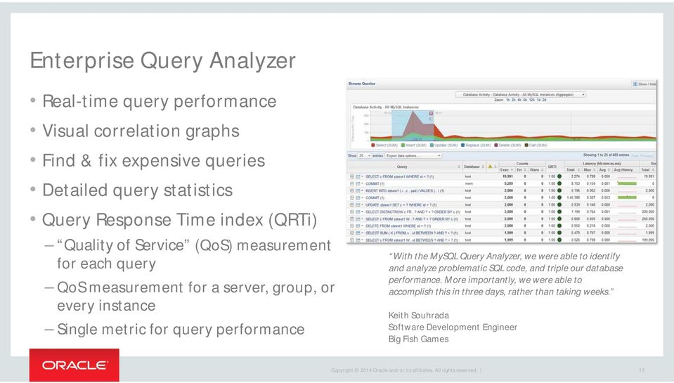 for query performance With the MySQL Query Analyzer, we were able to identify and analyze problematic SQL code, and triple our database performance.