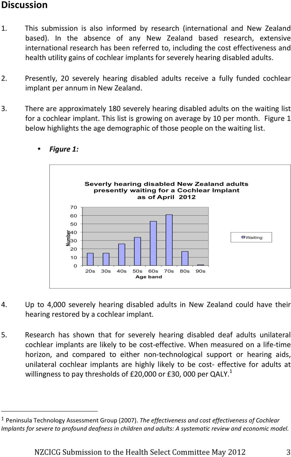 hearing disabled adults. 2. Presently, 20 severely hearing disabled adults receive a fully funded cochlear implant per annum in New Zealand. 3.