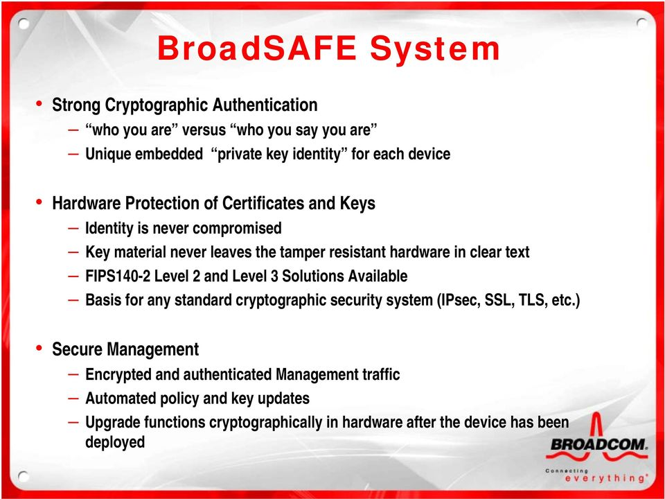 FIPS140-2 Level 2 and Level 3 Solutions Available Basis for any standard cryptographic security system (IPsec, SSL, TLS, etc.