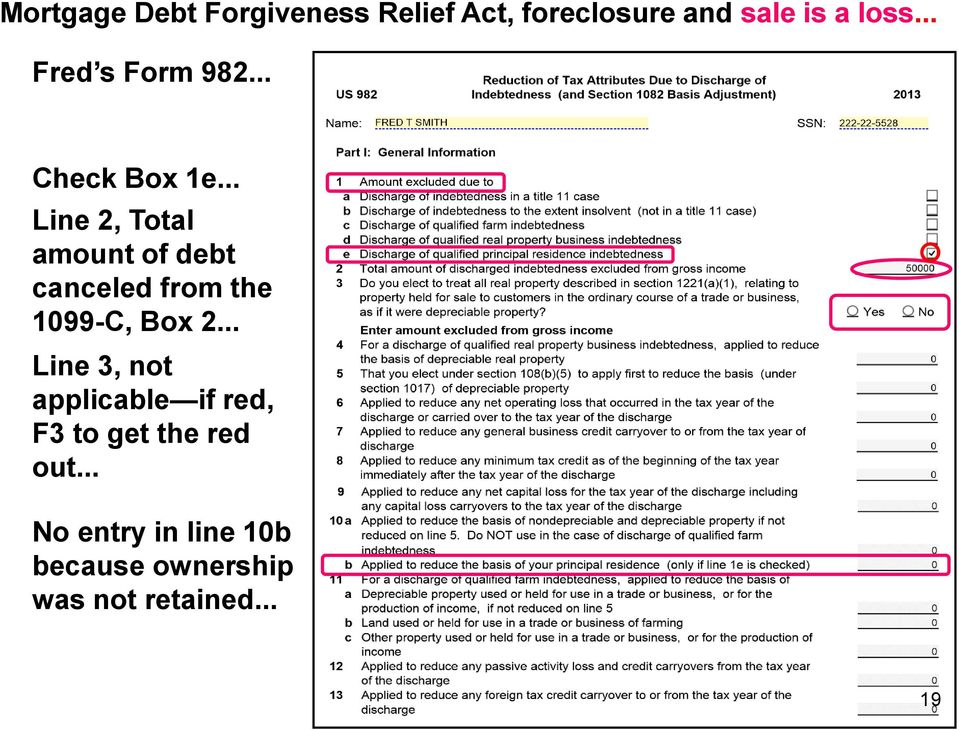 .. Line 2, Total amount of debt canceled from the 1099-C, Box 2.