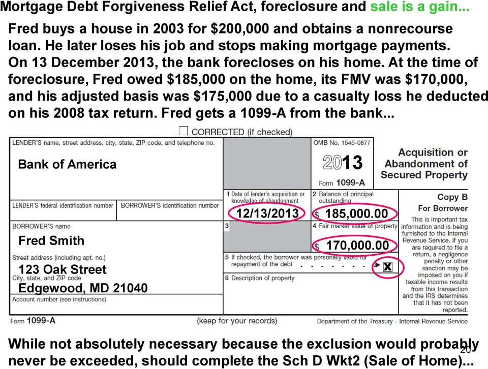 At the time of foreclosure, Fred owed $185,000 on the home, its FMV was $170,000, and his adjusted basis was $175,000 due to a casualty loss he deducted on his 2008 tax return.