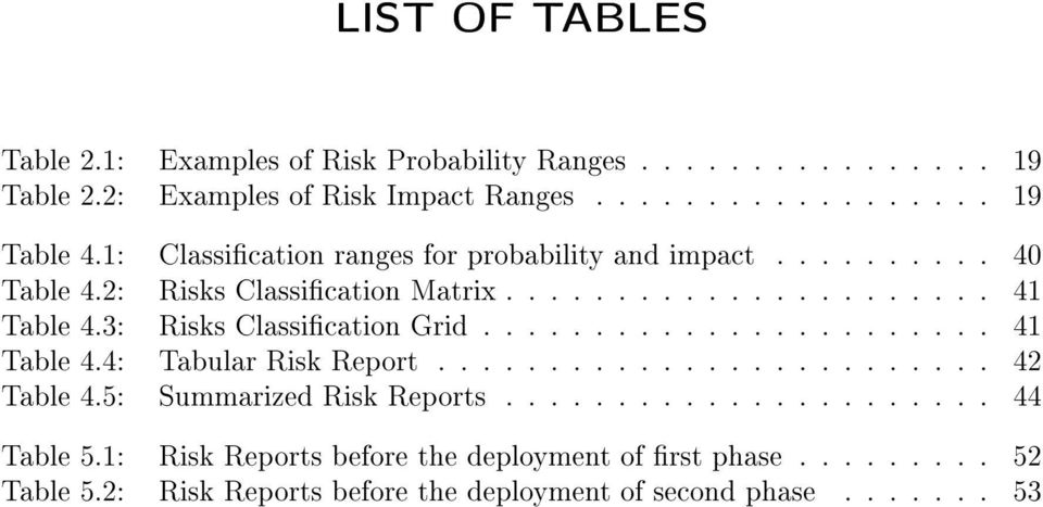 3: Risks Classication Grid....................... 4 Table 4.4: Tabular Risk Report......................... 42 Table 4.5: Summarized Risk Reports.