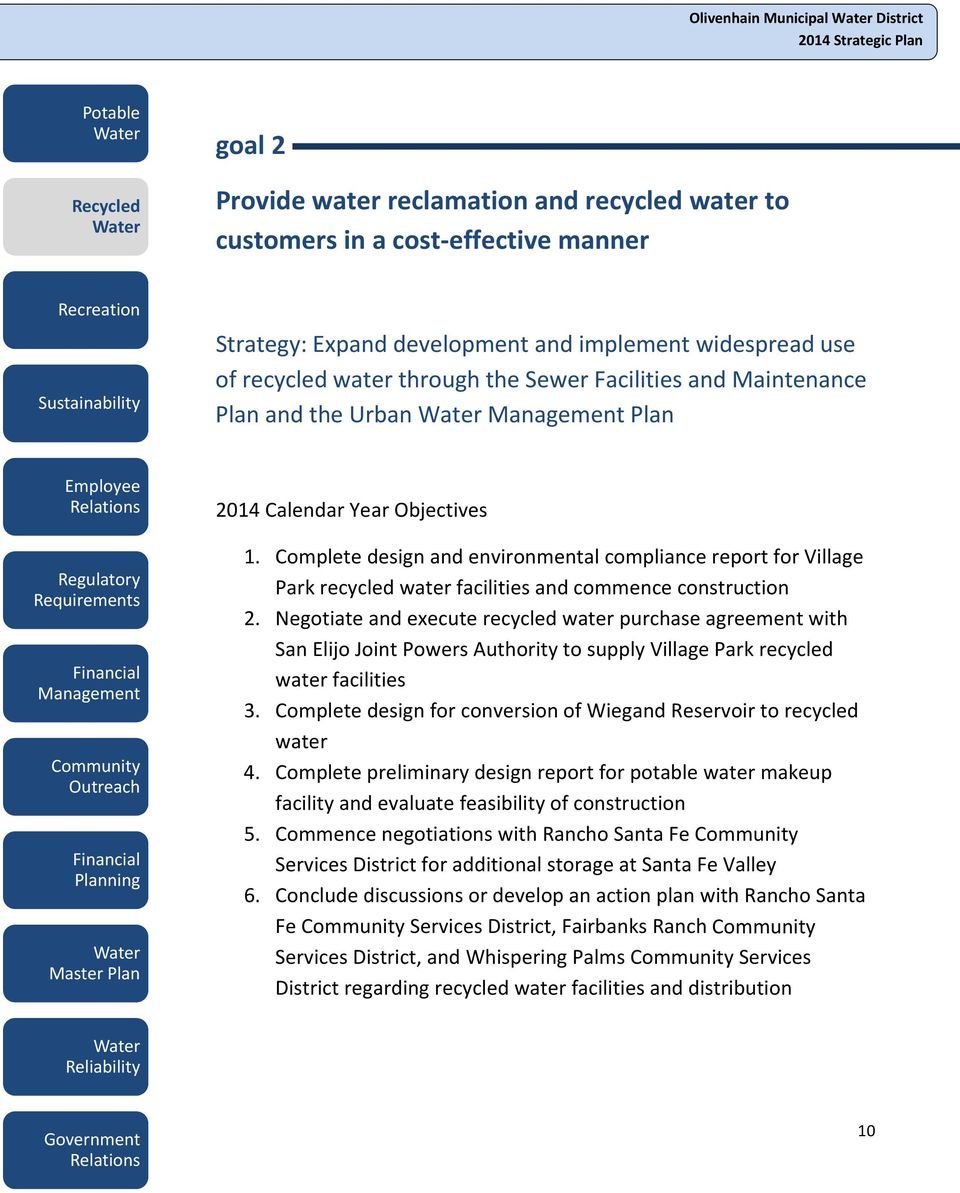 Complete design and environmental compliance report for Village Park recycled water facilities and commence construction 2.