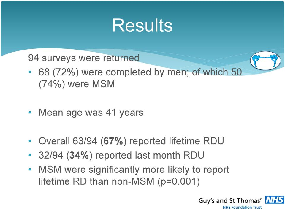 reported lifetime RDU 32/94 (34%) reported last month RDU MSM were