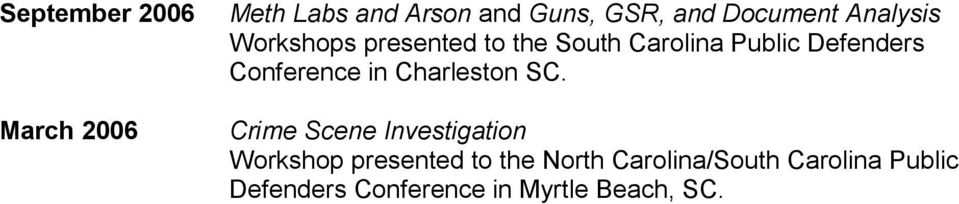 Conference in Charleston SC.