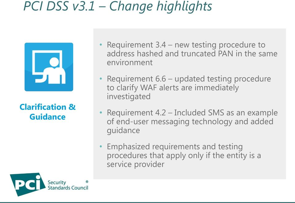 Requirement 6.6 updated testing procedure to clarify WAF alerts are immediately investigated Requirement 4.