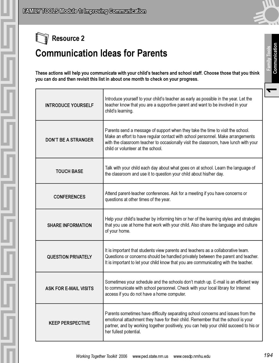 Family Tools Communication INTRODUCE YOURSELF Introduce yourself to your child s teacher as early as possible in the year.