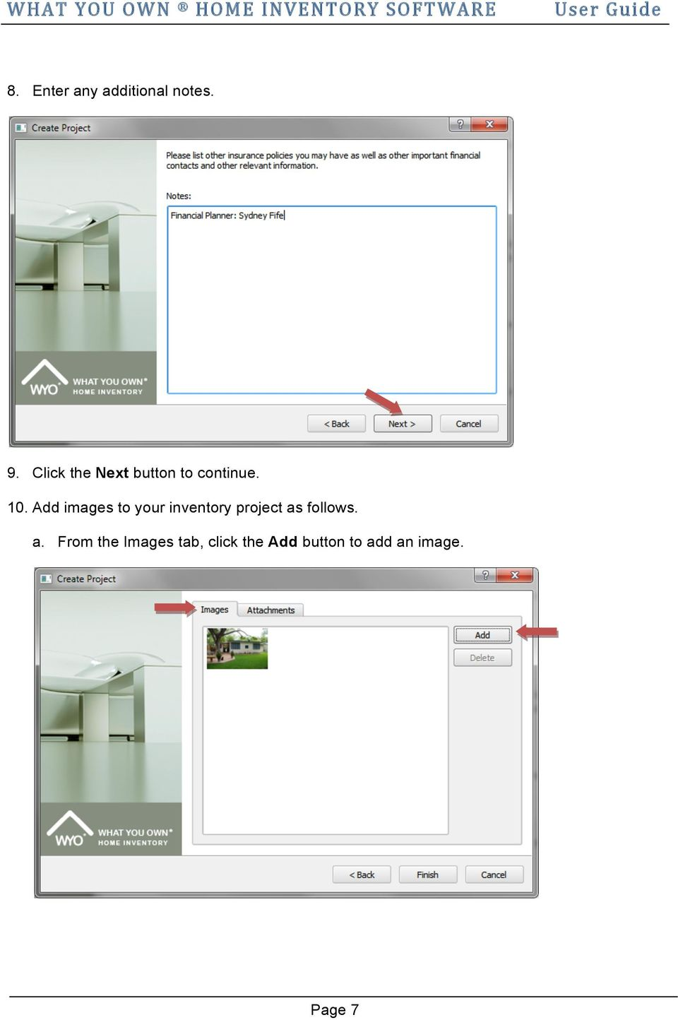 Add images to your inventory project as follows.