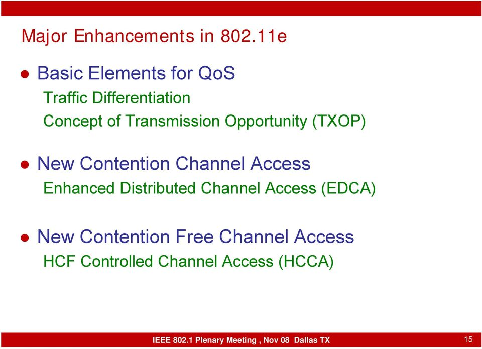 Opportunity (TXOP) New Contention Channel Access Enhanced Distributed Channel