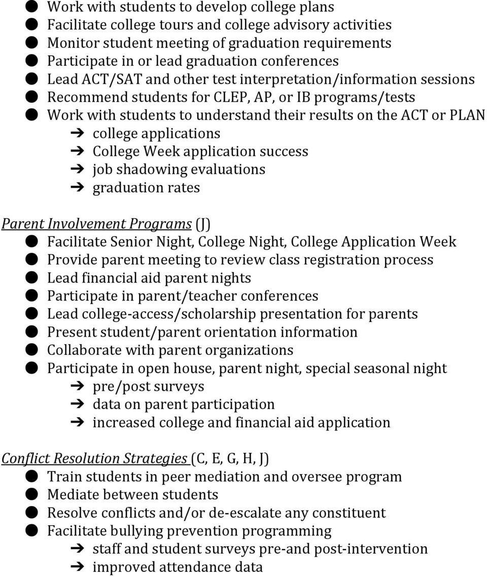 applications College Week application success job shadowing evaluations graduation rates Parent Involvement Programs (J) Facilitate Senior Night, College Night, College Application Week Provide