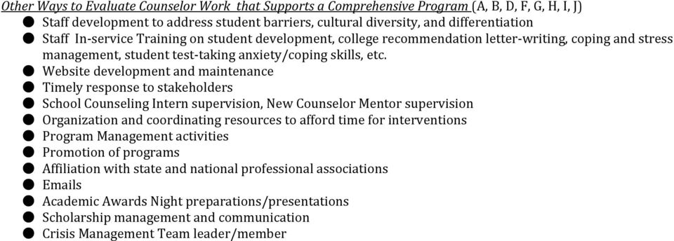 Website development and maintenance Timely response to stakeholders School Counseling Intern supervision, New Counselor Mentor supervision Organization and coordinating resources to afford time for