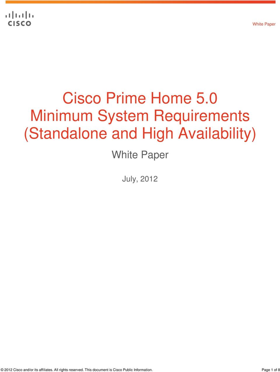 Availability) White Paper July, 2012 2012 Cisco and/or