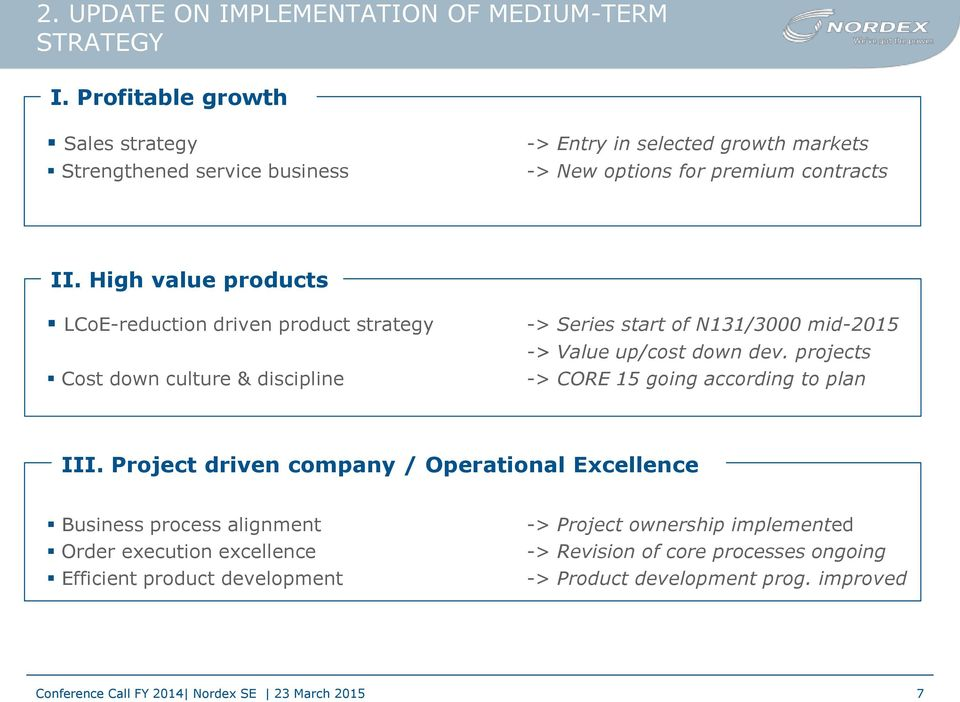 High value products LCoE-reduction driven product strategy Cost down culture & discipline -> Series start of N131/3000 mid-2015 -> Value up/cost down dev.