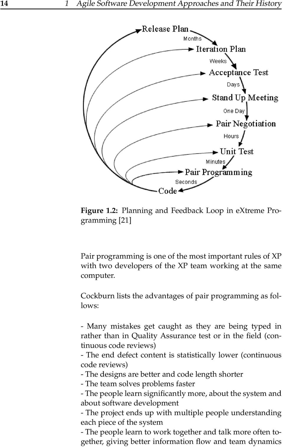 Cockburn lists the advantages of pair programming as follows: - Many mistakes get caught as they are being typed in rather than in Quality Assurance test or in the field (continuous code reviews) -