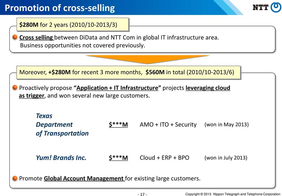 Moreover, +$280M for recent 3 more months, $560M in total (2010/10-2013/6) Proactively propose Application + IT Infrastructure projects leveraging cloud as