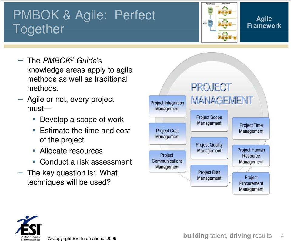 Agile or not, every project must Develop a scope of work Estimate the time and cost of the