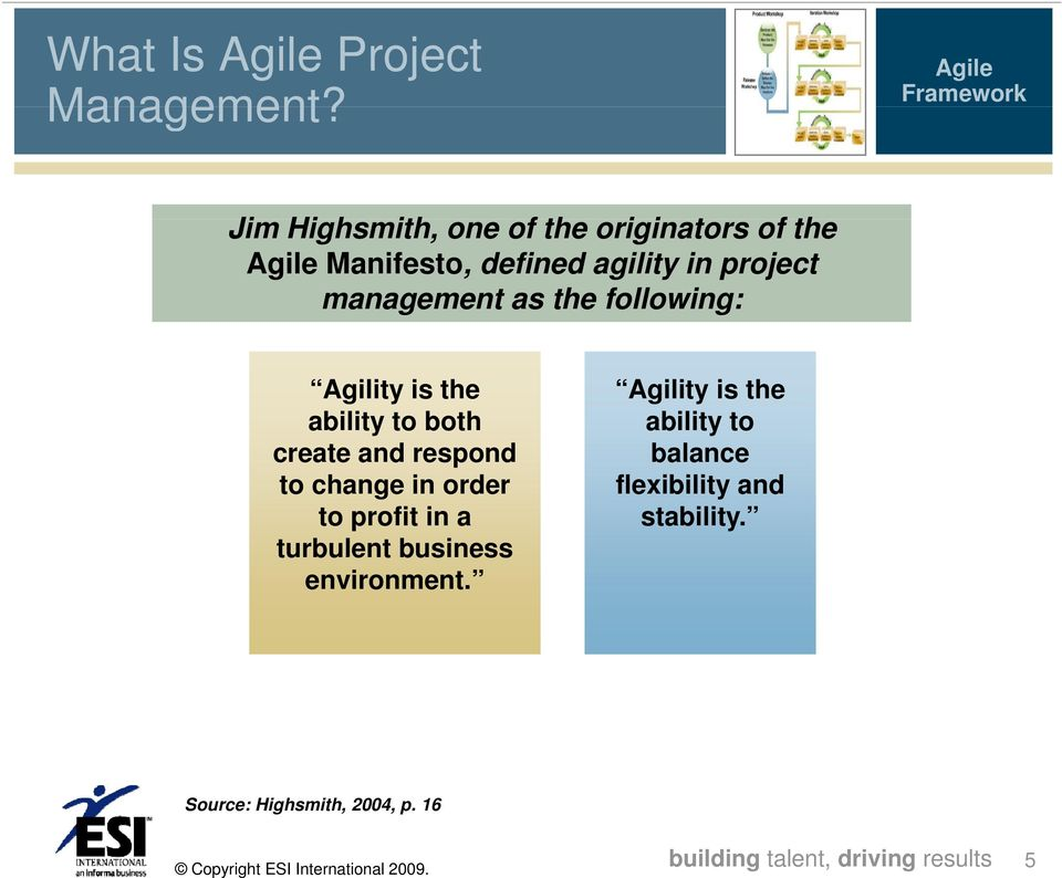 project management as the following: Agility is the ability to both create and respond to change in