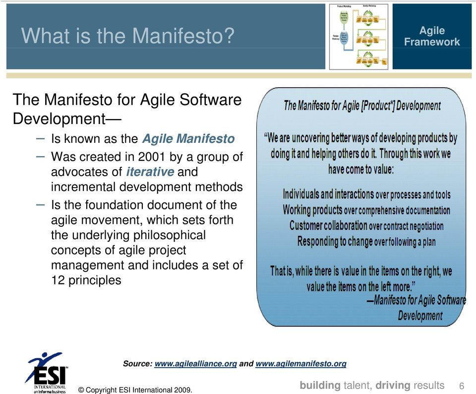 group of advocates of iterative and incremental development methods Is the foundation document of the agile movement,