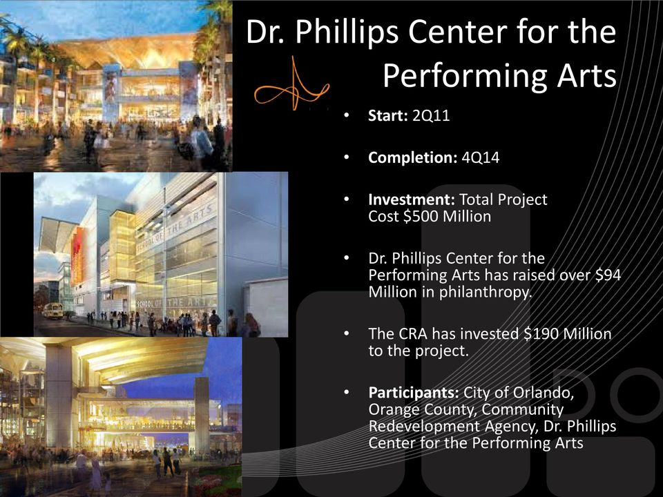 Phillips Center for the Performing Arts has raised over $94 Million in philanthropy.