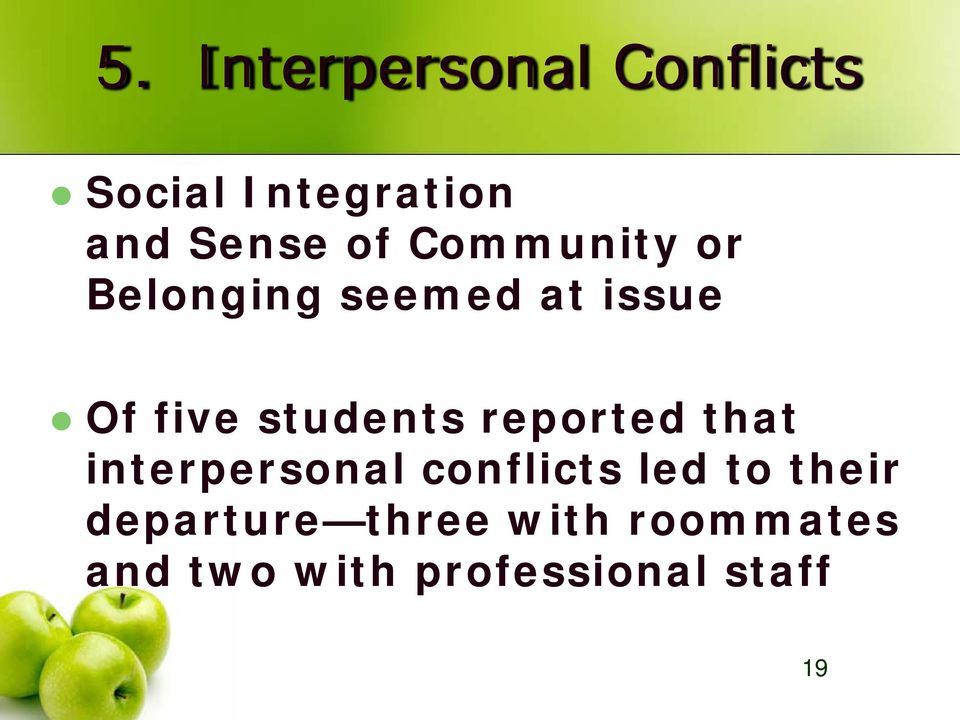 students reported that interpersonal conflicts led to
