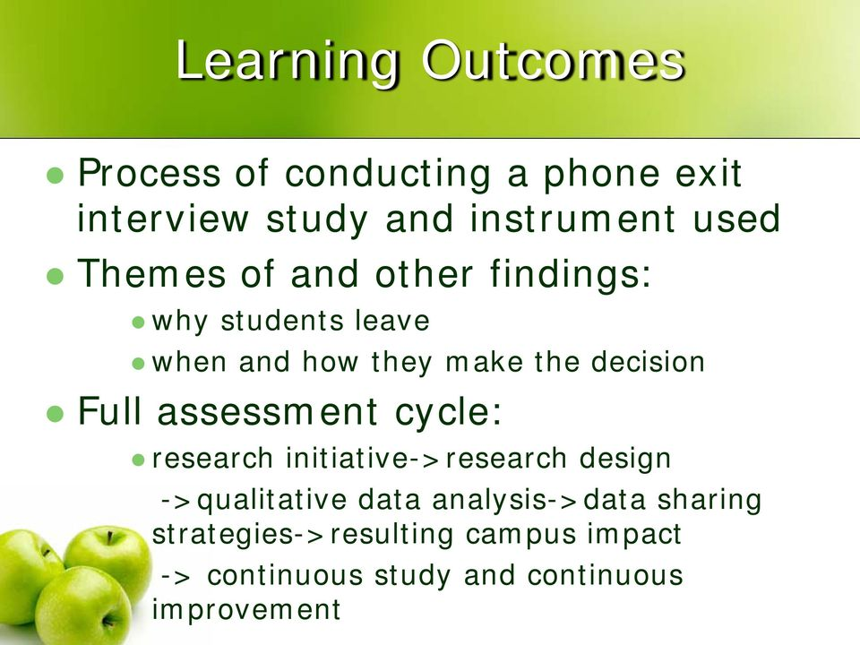 assessment cycle: research initiative->research design ->qualitative data analysis->data