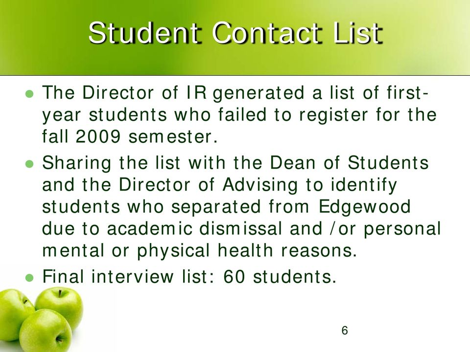 Sharing the list with the Dean of Students and the Director of Advising to identify