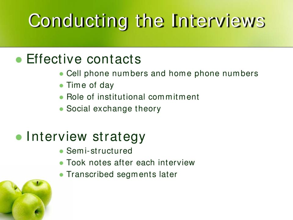 institutional commitment Social exchange theory Interview