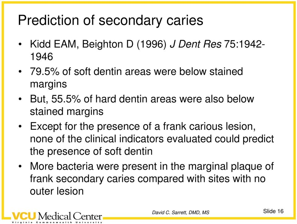 5% of hard dentin areas were also below stained margins Except for the presence of a frank carious lesion, none of