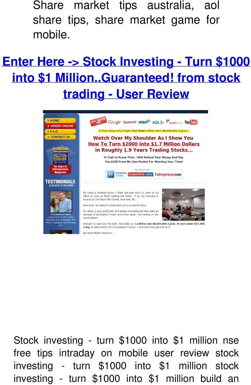 from stock trading - User Review Stock investing - turn $1000 into $1 million nse free tips