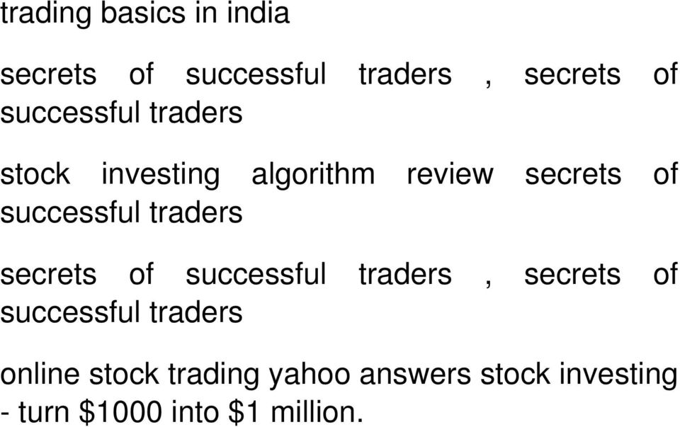 successful traders secrets of successful traders, secrets of successful
