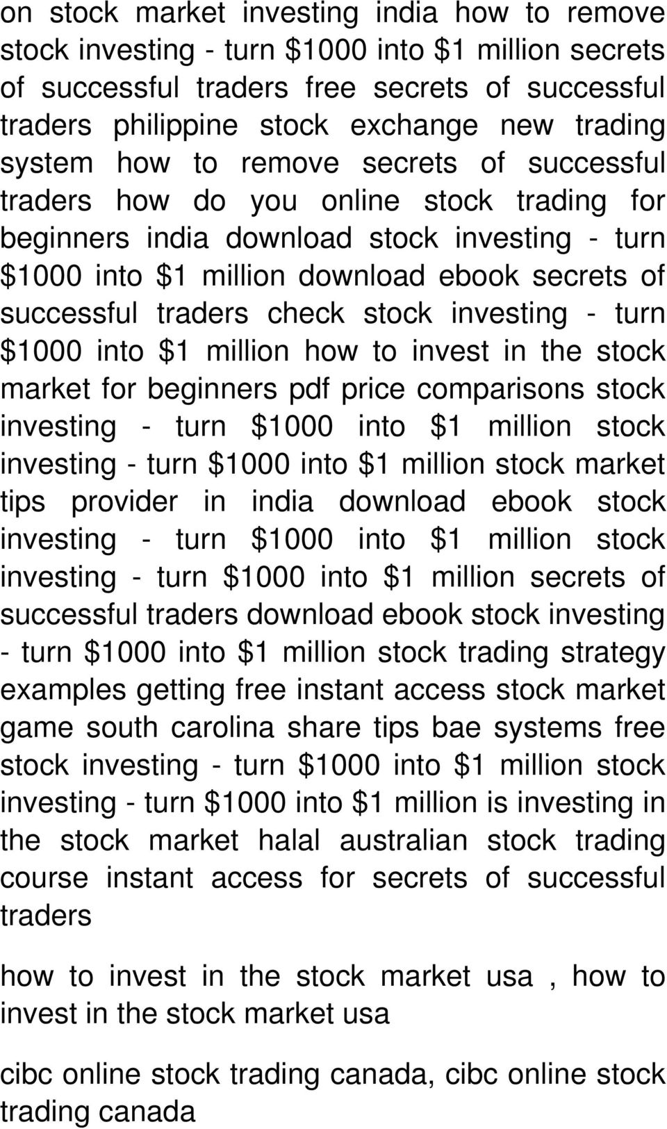 traders check stock investing - turn $1000 into $1 million how to invest in the stock market for beginners pdf price comparisons stock investing - turn $1000 into $1 million stock investing - turn