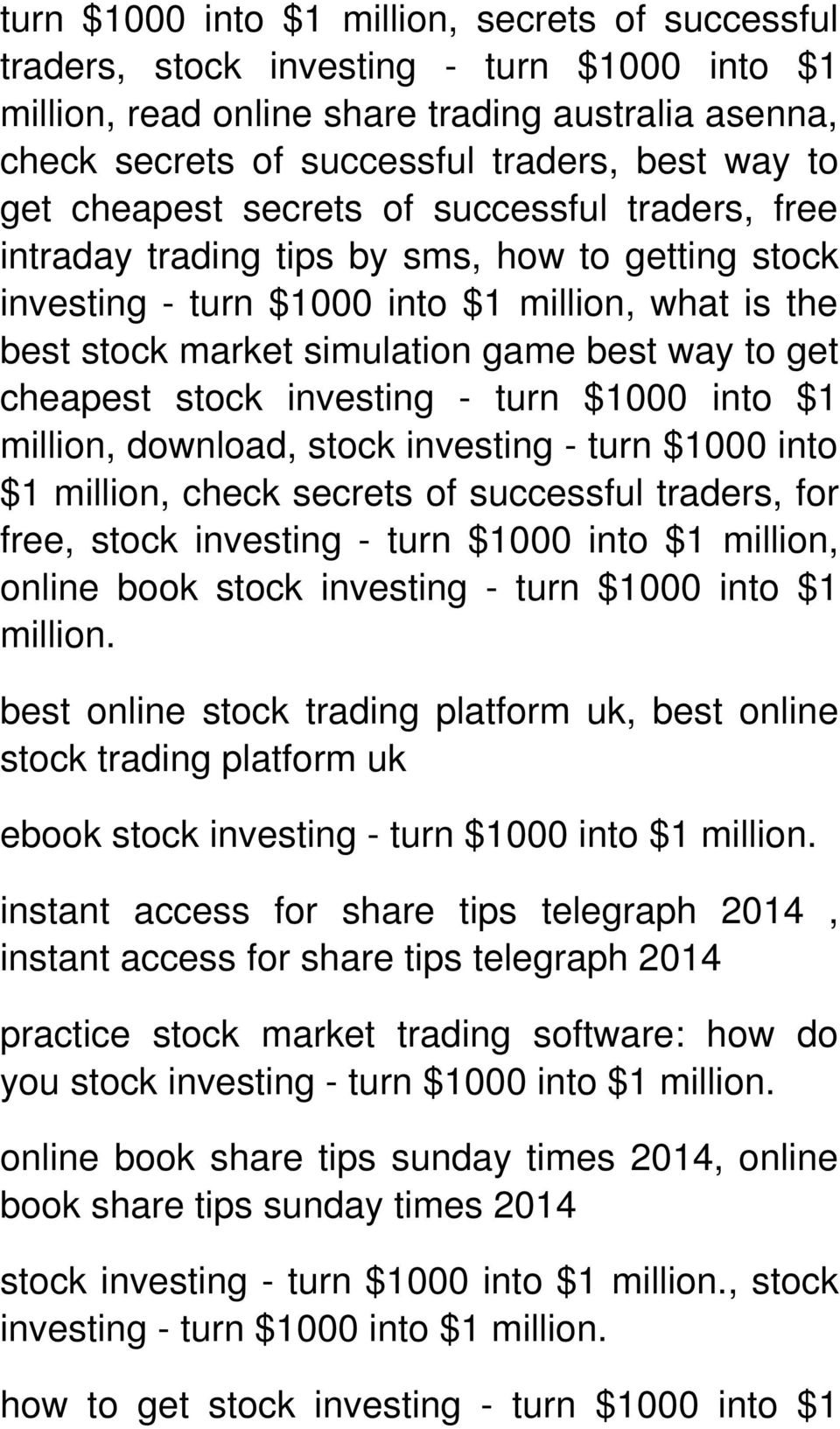 get cheapest stock investing - turn $1000 into $1 million, download, stock investing - turn $1000 into $1 million, check secrets of successful traders, for free, stock investing - turn $1000 into $1