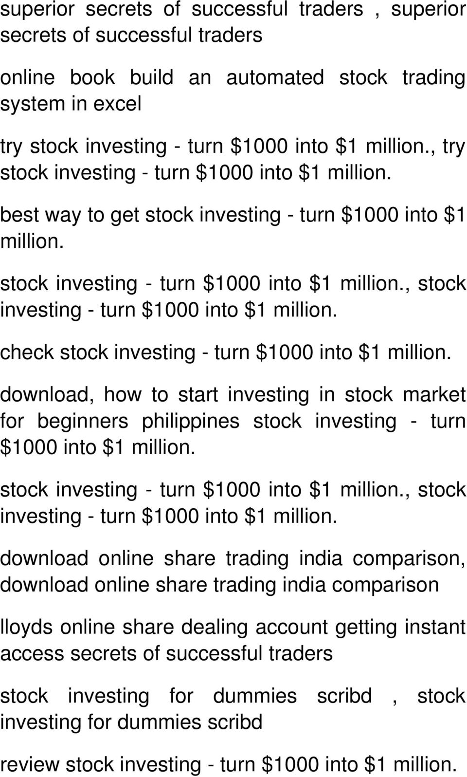 stock, stock check stock download, how to start investing in stock market for beginners philippines stock investing - turn $1000 into $1 million.