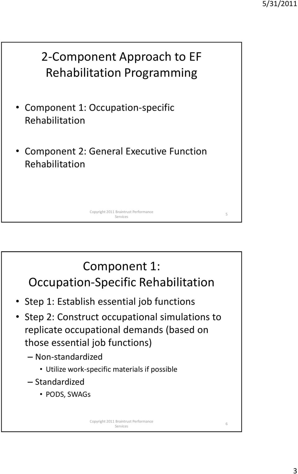 essential job functions Step 2: Construct occupational simulations to replicate occupational demands (based on