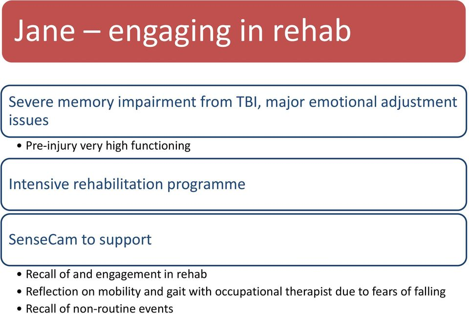 programme SenseCam to support Recall of and engagement in rehab Reflection on