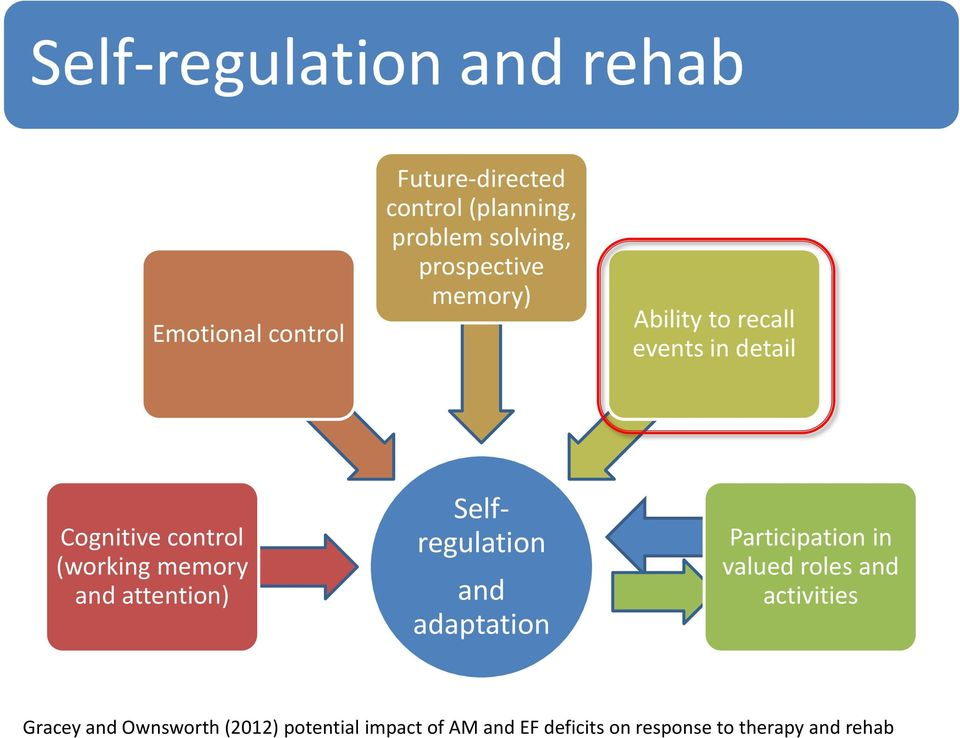 memory and attention) Selfregulation and adaptation Participation in valued roles and