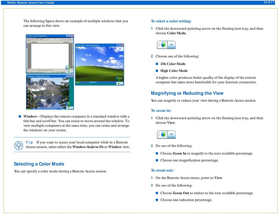Magnifying or Reducing the View You can magnify or reduce your view during a Remote Access session. Window Displays the remote computer in a standard window with a title bar and scroll bar.
