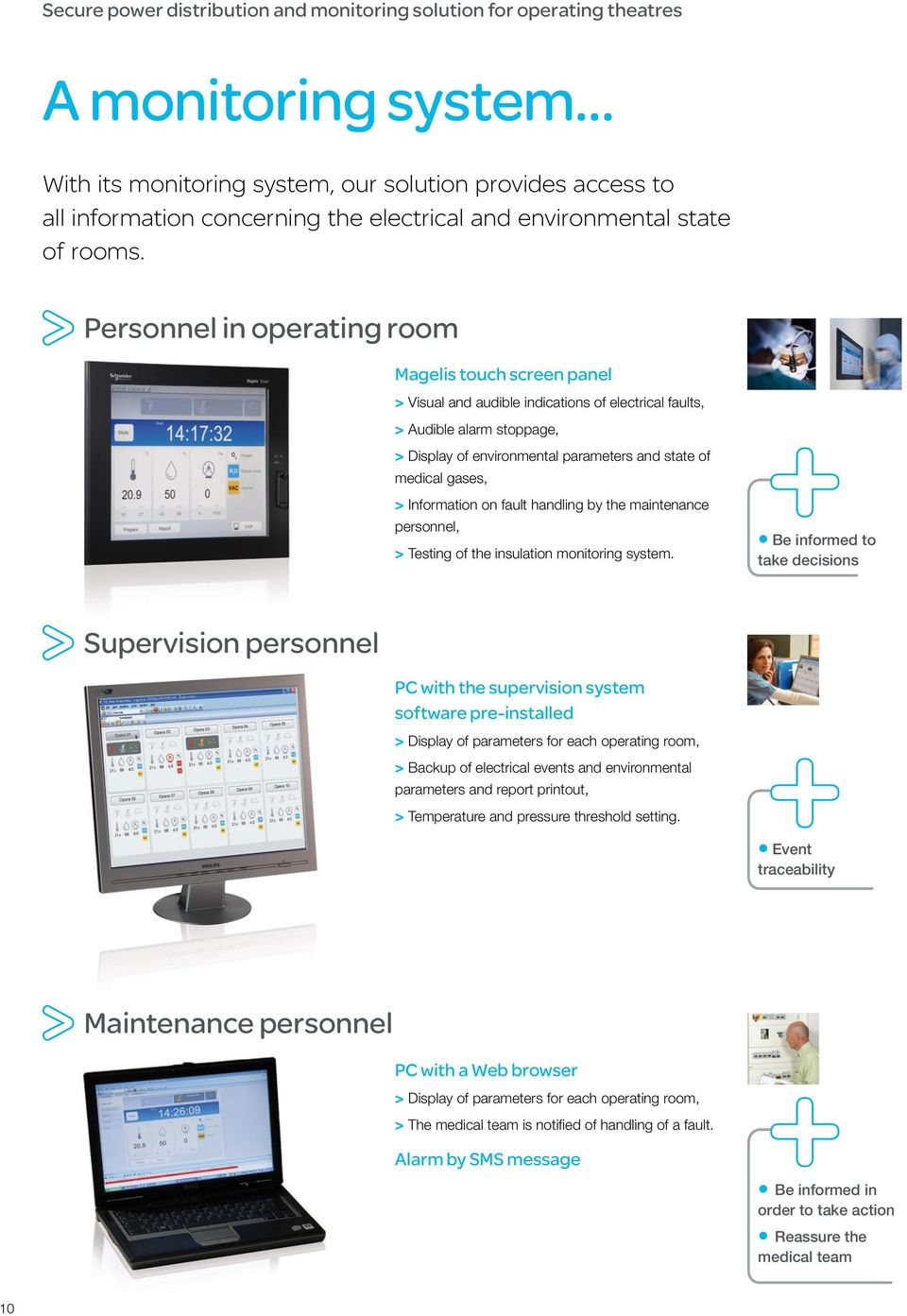 Personnel in operating room Magelis touch screen panel > Visual and audible indications of electrical faults, > Audible alarm stoppage, > Display of environmental parameters and state of medical