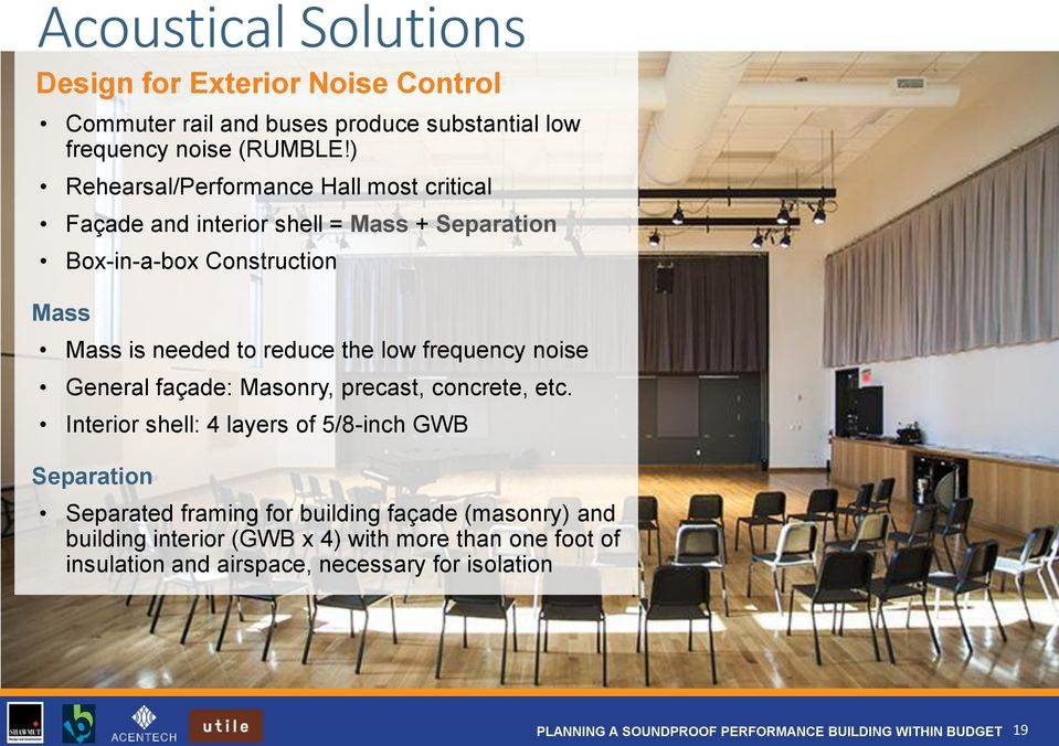 reduce the low frequency noise General façade: Masonry, precast, concrete, etc.