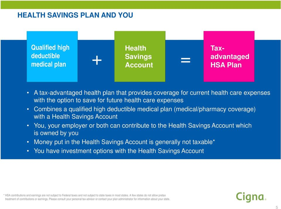 can contribute to the Health Savings Account which is owned by you Money put in the Health Savings Account is generally not taxable* You have investment options with the Health Savings Account * HSA