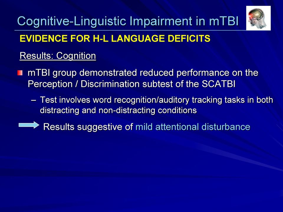 Discrimination subtest of the SCATBI Test involves word recognition/auditory tracking