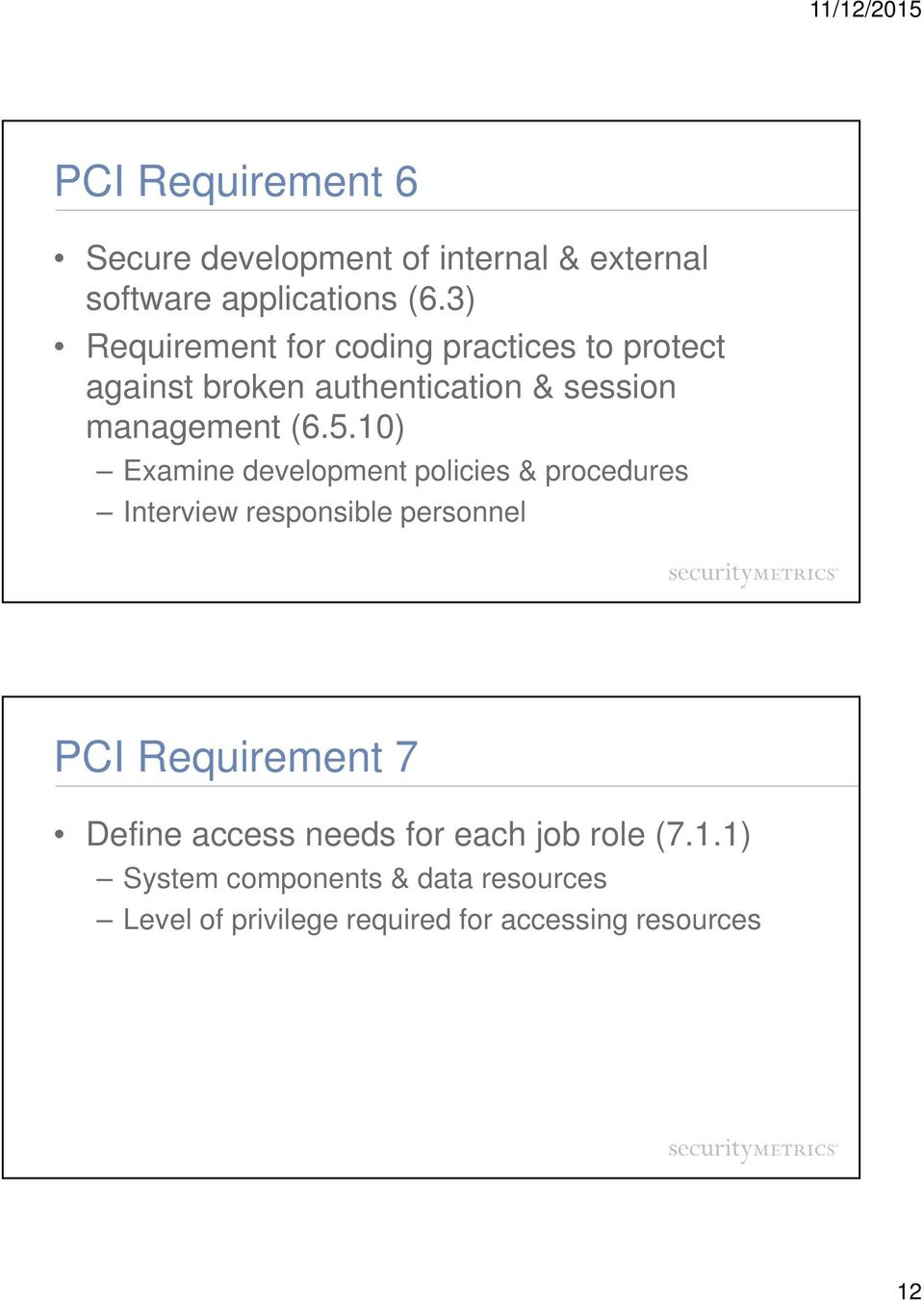 10) Examine development policies & procedures Interview responsible personnel PCI Requirement 7 Define
