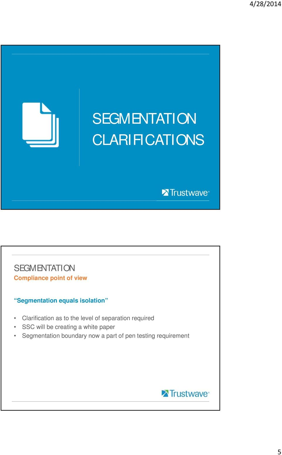 separation required SSC will be creating a white paper
