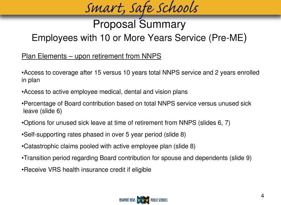 leave (slide 6) Options for unused sick leave at time of retirement from NNPS (slides 6, 7) Self-supporting rates phased in over 5 year period (slide 8) Catastrophic