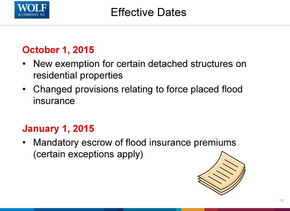 provisions relating to force placed flood insurance January 1,